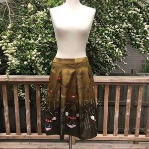 Anthropologie Maeve Feathered Village Skirt